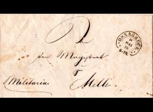 DR 1872, Hufeisen Stpl. OSNABRÜCK auf Militaria Brief n. Melle (Spalink 30-1).