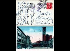 USA, New York Flatbush Ave. and Nevins St. m. Autos u. Trambahn, 1916 gebr. AK