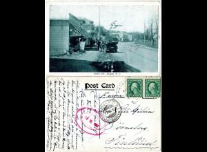 USA, HASKELL N.J. Main St. m. Auto u. Personen, 1916 n. Finnland gebr. sw-AK
