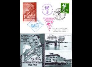 BRD 1958, 10 Pf. auf EAPC Fallschirmpost Flug Karte v. Freudenstadt
