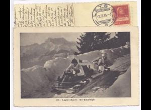 Bob Bobsleigh Schweiz 1916, gebr. sw Ak v. Leysin. #689