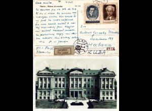 Tschechoslowakei 1953, 75 h.+1,60 Kr. auf Luftüpost-AK v. Zlonice in die Karibik