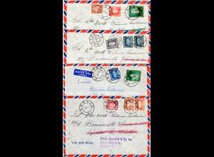 Norwegen 1953, 4 Seemanns Nachsende Luftpost Briefe v. Horten