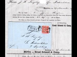 NDP 1869, 1 Gr. auf Magdeburg Firmenbrief n. Gr. Rodensleben. Botenlohn 1/2 Gr.
