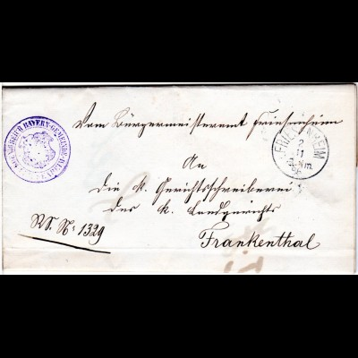 Bayern 1886, K1 FRIESENHEIM auf Bürgermeisteramts Retour Brief n. Frankenthal