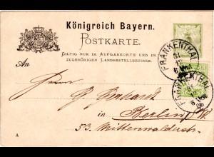 Bayern 1886, 3 Pf. Zusatzfr. auf 3 Pf. Ganzsache m. K1 FRANKENTHAL n. Berlin