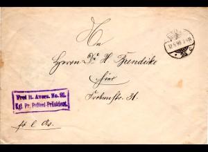 DR 1899. Frei lt. Avers No. 21 Kgl. Pr. Polizei Präsident auf Brief v. Berlin