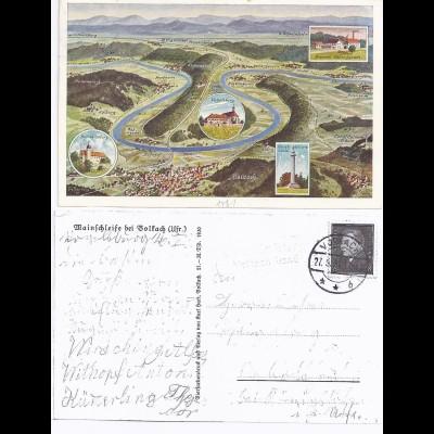 DR 1931, Vogelsburg Volkach Land, Landpost Stpl. auf AK m. u.a. Brauerei. #1207