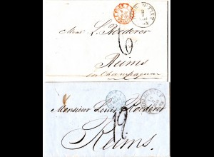 Taxis 1859/60, 2 Briefe v. Hamburg m. versch. Frankreich Porto Stempeln