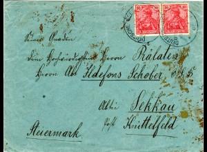 DOA 1901, Schiffspost Brief m. 2x10 Pf. Germania ab Dar Es-Salaam n. Österreich