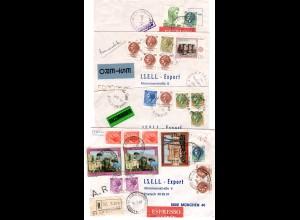 Italien 1980, Korresponden v. 4 Briefen n. München. Dabei Reko, Express, AR...