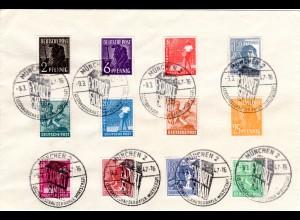 Kontrollrat 1947, Brief m 12 Marken Arbeiter u. Sonderstpl. München Export Schau