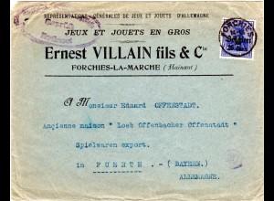 Belgien 1915, 25 C./20 Pf. auf Firmen Brief v. Forchies-La-Marche n. Bayern.