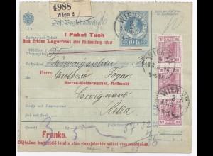 """Österreich 1908, 3er-Str. 30 H. m. perfins Firmenlochung """"T.S."""", Paketkte. #368"""