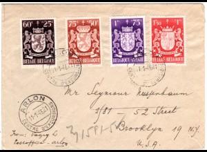 Belgien 1946, 4 Wappen Zuschlagmarken auf Brief v. Arlon n. USA