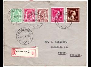 Belgien 1945, 5 Marken auf Einschreiben Brief v. Antwerpen n. Finnland.