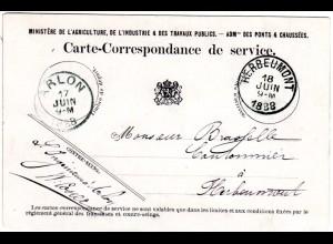 Belgien 1888, offizielle Dienst Postkarte v. Arlon n. Herbeumont. Portofreiheit!