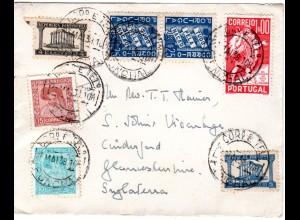 Portugal 1938, 8 Marken auf Brief v. Funchal n. GB