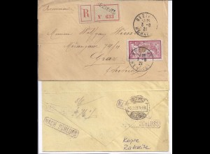 Frankreich Serbien Österreich 1921,Einschreiben Brief Beziers Belgrad Graz. #398