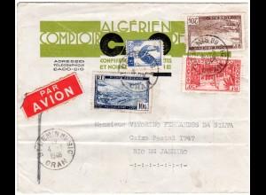 Algerien 1948, 4 Marken auf Luftpost Brief nach Brasilien.