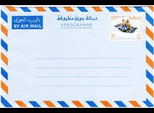 Irak, ungebr. 35 F. Aeroramm Ganzsache m. Abb. Fliegender Teppich