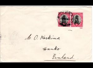 Südafrika 1931, Paar 1d Suid-/South Africa auf Brief v. Ladybrand n. Finnland.
