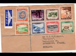 Niue 1950, 8 Marken auf Luftpost Brief n.GB