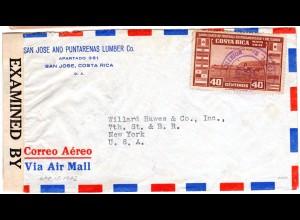 Costa Rica 1942, 40 C. Fussball auf Luftpost Zensur Brief n. USA