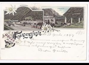 Italien, Gruss aus Franzensfeste m. Bahnhof, Südtirol Alto Adige Litho AK #390