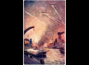 Zeppelin Luftangriff auf London Hafen, ungebr. Farb-AK