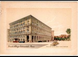 Italien, Rom Hotel Gr. Albergo Continentale, 1953 gebr. Farb-AK m. Randprägung