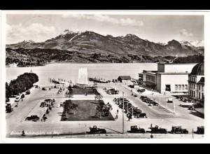 Schweiz, Luzern Bahnhofsplatz m. Oldtimern, 1937 gebr. sw-AK