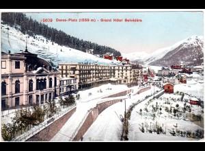 Schweiz, Davos-Platz, Grand Hotel Belvedere, 1909 gebr. Winter Farb-AK
