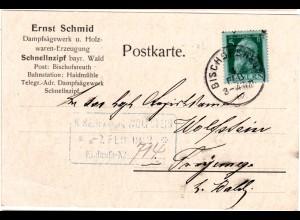 Bayern 1912, 5 Pf. auf Firmenkarte v. Sägewerk Schnellzipf m. K1 BISCHOFSREUTH