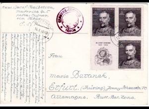 Tschechoslowakei 1948, 1,50 Kr. Dr. Scheiner, 4er-Block inkl. Zierfeld auf Karte