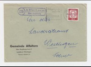 BRD 1962, 13b Affaltern über Augsburg, Brief m. Landpost St.II Stpl. #2781