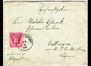 Österreich 1888, 5 Kr. auf Brief m. klarem Niederösterreich-K1 KRITZENDORF