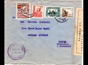 Spanien 1937, 5+15+30 C.+10 C. Por La Patria auf Zensur Brief v. La Coruna