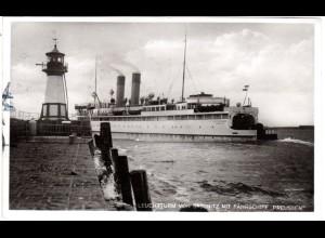 Sassnitz Hafen m. Leuchtturm u. Fährschiff Preussen, 1931 gebr. sw-AK
