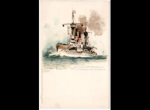SMS Panzerschiff Brandenburg Kiel verlassend, ungebr. Litho-AK