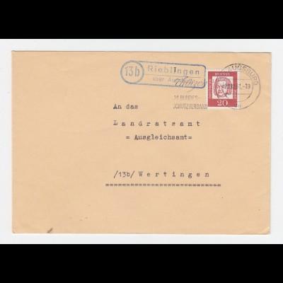 BRD 1961, 13b Rieblingen über Augsburg, Brief m. Landpost St.II Stpl. #2780