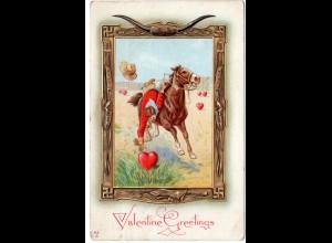Valentine Greetings mit Pferd u. Reiter, 1914 gebr. Präge-Farb-AK
