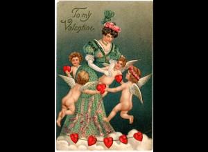 To My Valentine mit Engeln, 1912 gebr. Präge-Farb-AK