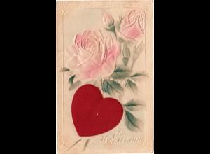 To My Valentine mit Rose u. Seidenherz, 1910 gebr. Präge-Farb-AK