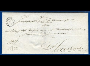 Bayern, Fingerhutstpl. Pappenheim klar auf schönem Brief n. Ansbach. #2790