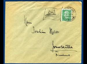 DR 1932, Dt Seepost Gjedser Warnemünde, klarer Stpl. auf Brief n. Finnland #2786