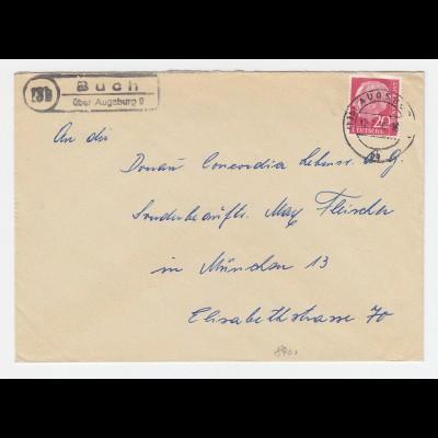 BRD 1956, 13b Buch über Augsburg, Brief m. Landpost St.II Stpl. #2779