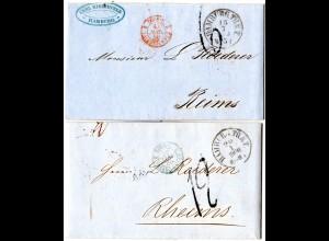 Taxis 1860, HAMBURG.TH.&T. auf 2 Briefen n. Frankreich m. versch. Portostempeln