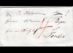 Hannover 1821, L1 HILDESHEIM klar auf Wert Brief n. Verden
