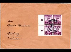 DR 1942, MeF 4er-Block 6+12 Pf. Henlein portorichtig auf Brief v. Nürnberg